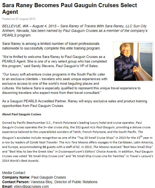 Sara Raney becomes Paul Guaguin Cruises Select Agent