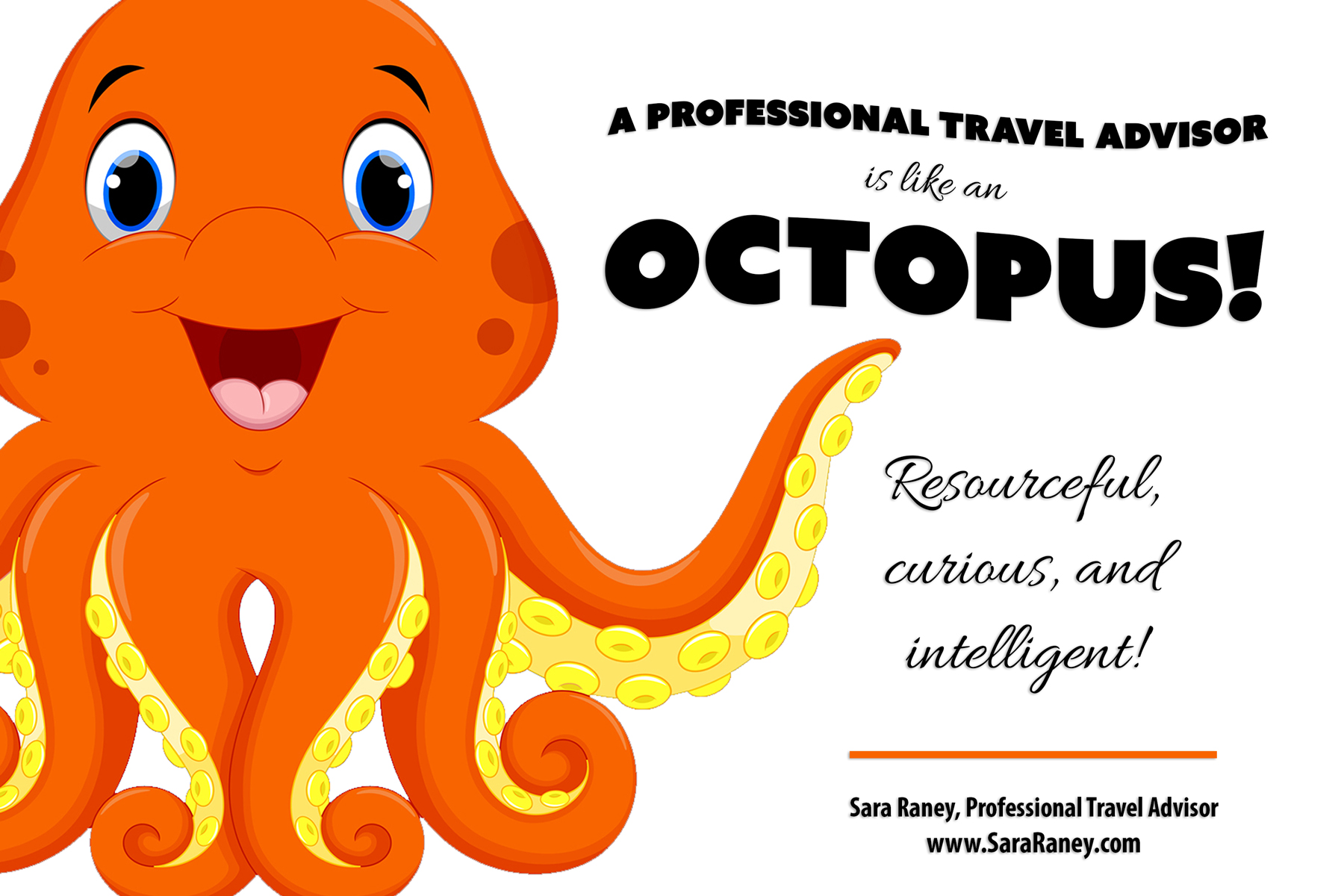 A professional travel advisor is like an octopus.