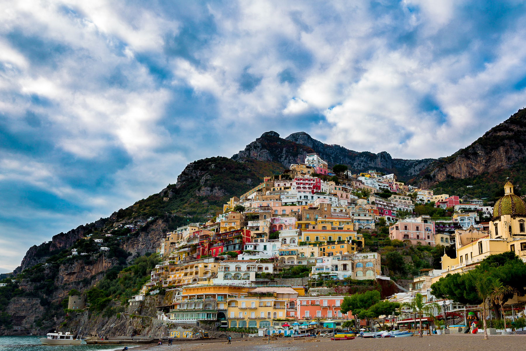 View of Positano, Italy from a distance.